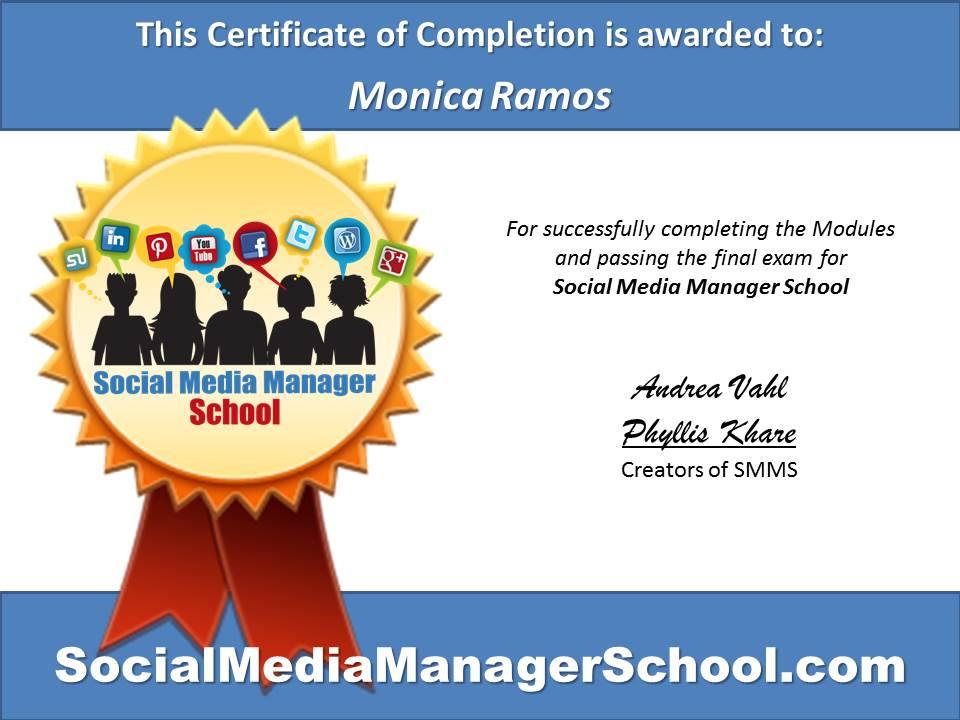 Monica Ramos Certificate